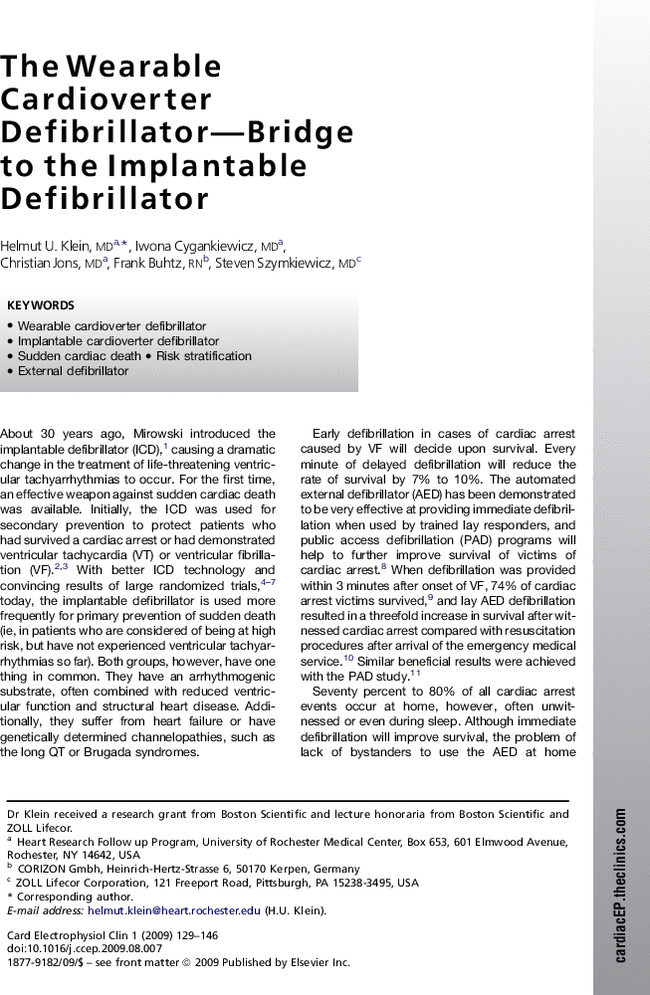 Wearable Cardioverter Defibrillator The Wearable Cardioverter